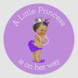 Vintage Ethnic Little Princess Baby Shower Purple Classic Round Sticker