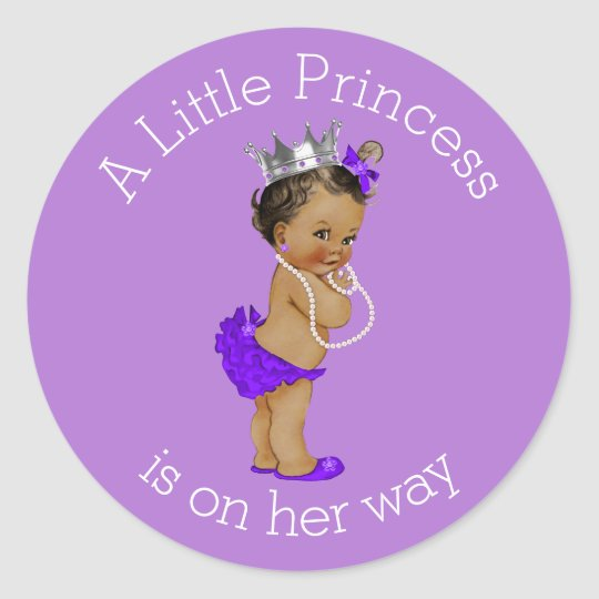 Vintage Ethnic Little Princess Baby Shower Purple Classic Round