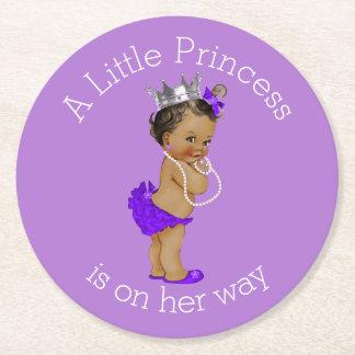 Vintage Ethnic Little Princess Baby Shower Purple Round Paper Coaster