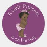 Vintage Ethnic Little Princess Baby Shower Classic Round Sticker