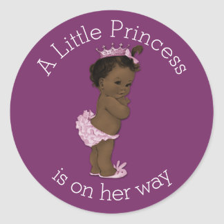Vintage Ethnic Little Princess Baby Shower Classic Round Sticker
