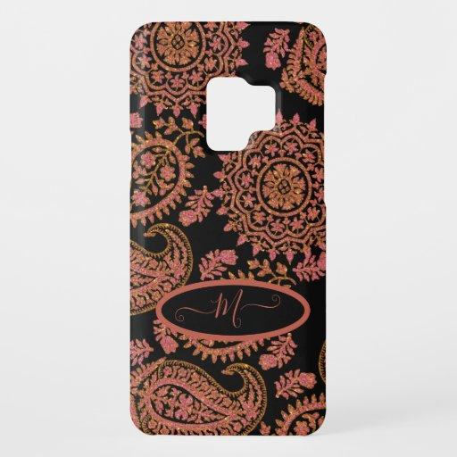 Vintage Ethnic Pink Paisley Pattern Monogram Case-Mate Samsung Galaxy S9 Case