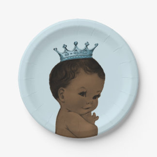 Vintage Ethnic Prince Baby Shower Blue Paper Plate