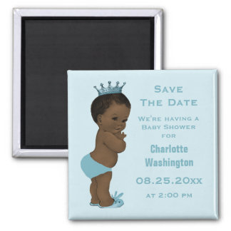 Vintage Ethnic Prince Baby Shower Save the Date 2 Inch Square Magnet