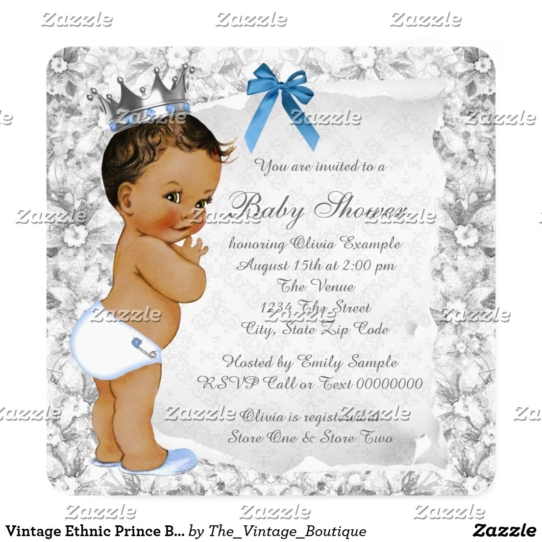 Vintage Ethnic Prince Blue and Gray Baby Shower