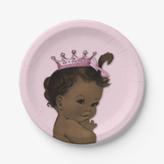 Vintage Ethnic Princess Baby Shower Pink 7 Inch Paper Plate