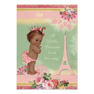 Vintage Ethnic Princess Eiffel Tower Baby Shower 5x7 Paper Invitation Card