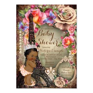 Vintage Ethnic Princess Paris Baby Shower 4.5x6.25 Paper Invitation Card