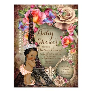 Vintage Ethnic Princess Paris Baby Shower Card