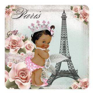 Vintage Ethnic Princess Paris Baby Shower 5.25x5.25 Square Paper Invitation Card