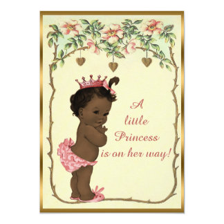 Vintage Ethnic Princess Roses & Hearts Baby Shower 5x7 Paper Invitation Card