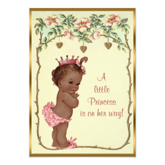 "Vintage Ethnic Princess Roses & Hearts Baby Shower 5"" X 7"" Invitation Card"