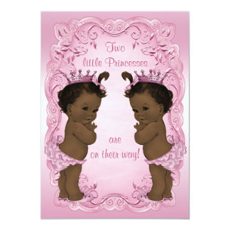 Vintage Ethnic Princess Twins Baby Shower Pink Card
