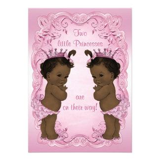 Vintage Ethnic Princess Twins Baby Shower Pink Invites