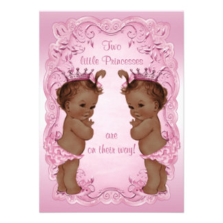 Vintage Ethnic Princess Twins Baby Shower Pink Custom Announcements