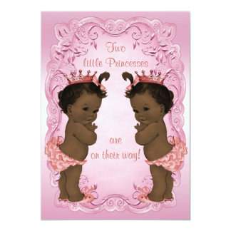 "Vintage Ethnic Princess Twins Baby Shower Pink 5"" X 7"" Invitation Card"