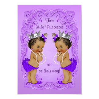 Vintage Ethnic Princess Twins Baby Shower Purple Card