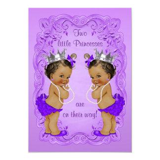 Vintage Ethnic Princess Twins Baby Shower Purple Card