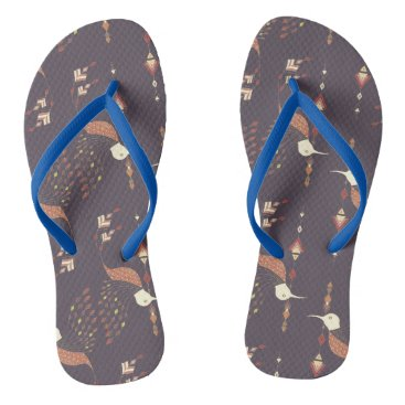 Aztec Themed Vintage ethnic tribal aztec bird flip flops