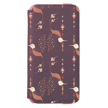 Aztec Themed Vintage ethnic tribal aztec bird iPhone 6/6s wallet case