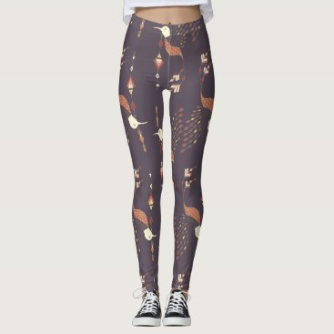 Aztec Themed Vintage ethnic tribal aztec bird leggings