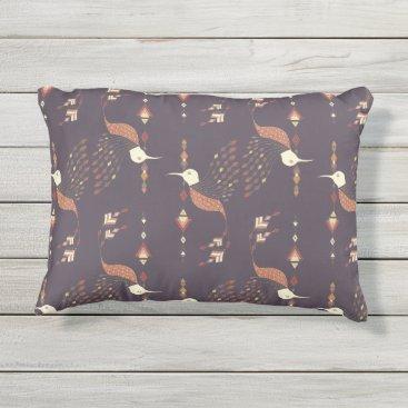 Aztec Themed Vintage ethnic tribal aztec bird outdoor pillow