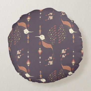 Aztec Themed Vintage ethnic tribal aztec bird round pillow