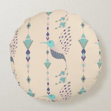 Vintage ethnic tribal aztec bird round pillow