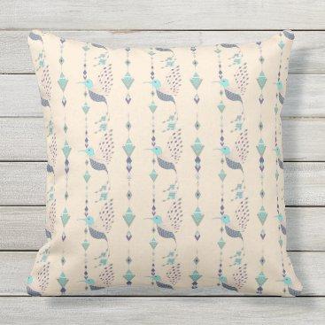Vintage ethnic tribal aztec bird throw pillow