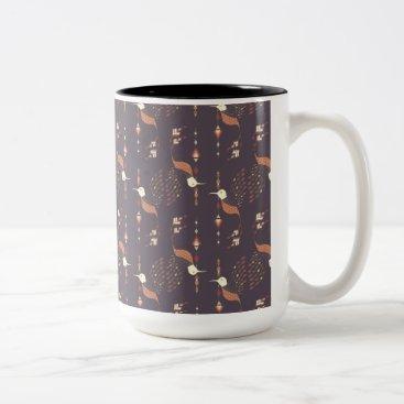 Vintage ethnic tribal aztec bird Two-Tone coffee mug
