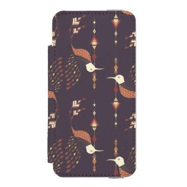 Aztec Themed Vintage ethnic tribal aztec bird wallet case for iPhone SE/5/5s