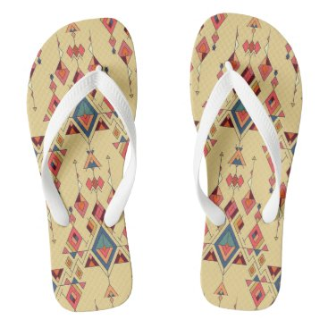 Aztec Themed Vintage ethnic tribal aztec ornament flip flops