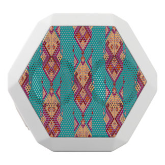 Vintage ethnic tribal aztec ornament white bluetooth speaker