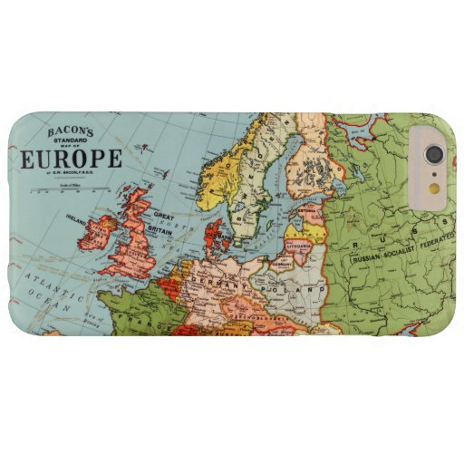 Vintage Europe 20th Century Bacon's Standard Map Barely There iPhone 6 Plus Case