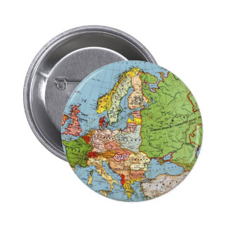 Vintage Europe 20th Century General Map Button