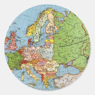 Vintage Europe 20th Century General Map Classic Round Sticker
