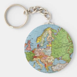 Vintage Europe 20th Century General Map Keychain