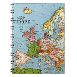 Vintage Europe 20th Century General Map Spiral Notebook