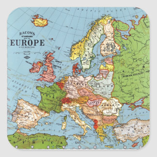 Vintage Europe 20th Century General Map Square Sticker