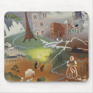 Vintage Europe Air Travel Ad Mouse Pad