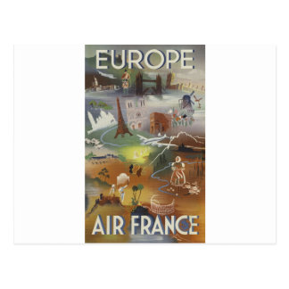 Vintage Europe Air Travel Ad Postcard