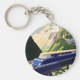 Vintage Europe Rail Travel Key Chains