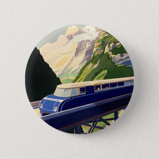Vintage Europe Rail Travel Pinback Button