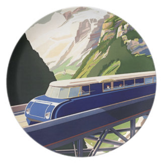 Vintage Europe Rail Travel Party Plate
