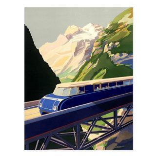 Vintage Europe Rail Travel Postcard
