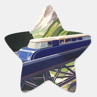 Vintage Europe Rail Travel Star Sticker