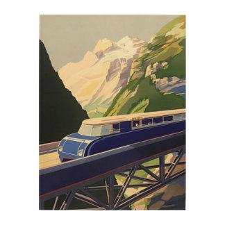 Vintage Europe Rail Travel Wood Canvas