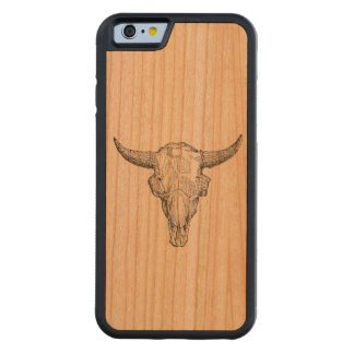 Vintage European Bison Skull Antique Template Carved® Cherry iPhone 6 Bumper