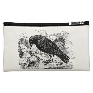 Vintage European Carrion Crow Bird Crows Birds Makeup Bag
