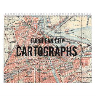 Vintage European City Cartographs Calendar
